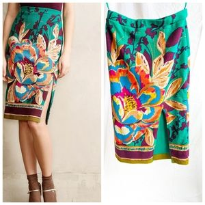 Anthropologie Maeve Tapestry Pencil Skirt